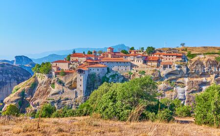Panoramic view of The Monastery of Great Meteoron in Meteora in the morning, Greece -  Greek landscape
