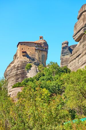 Agios Nikolaos Anapafsas monastery on the top of cliff in Meteora, Thessaly, Greece  - Greek landscape 写真素材