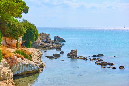 Beach on the seashore of Aegina Island, Agia Marina, Saronic Islands, Greece