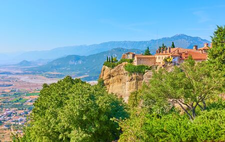 The Monastery of St. Stephen on the rock in Meteora and Thessaly valley, Kalambaka, Greece - Greek landscape