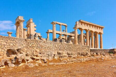 Ruins of ancient greek temple of Aphaea in Aegina Island,  Greece 写真素材