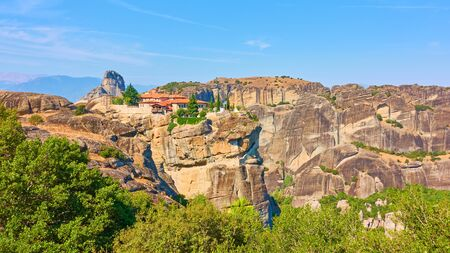 Rocks of Meteora and The Monastery of the Holy Trinity, Greece  - Greek landscape 写真素材