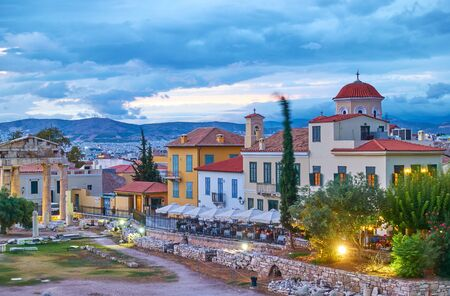 Street of the old town of Athens and Roman Agora at dusk, Greece