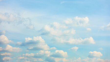 Panoramic view of  light blue sky with clouds -  background and space for your own text 스톡 콘텐츠