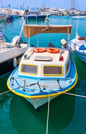 Small fishing boat in the port of Aegina, Saronic Islands, Greece