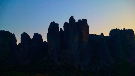 Dawn sky and silhouette of Meteora rocks, Kalambaka, Greece -  Greek landscape