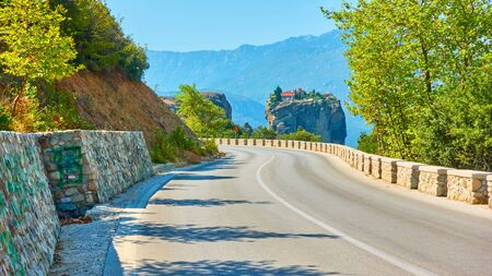 Road to The Monastery of the Holy Trinity in Meteora, Greece  - Greek landscape 写真素材