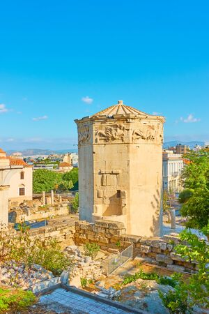 The Tower of the Winds at Roman Forum in Athens in the morning, Greece 写真素材