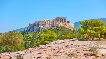Panoramic view of the Acropolis in Athens fron the Hill of the Nymphs on summer sunny day, Greece - Greek landscape 写真素材