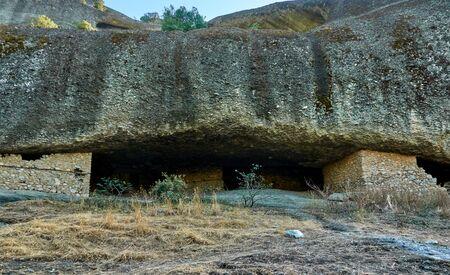 Caves of hermits in Meteora near Kastraki village, Greece 写真素材