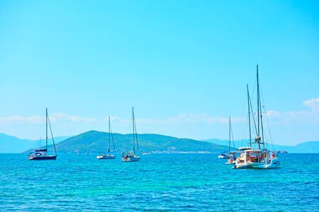 Yachts in the sea on the summer day, Saronic Islands, Greece