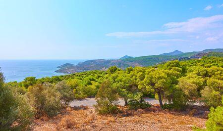 Panoramic view of the coast of Aegina Island in the Agia Marina town area, Saronic Islands, Greece 写真素材