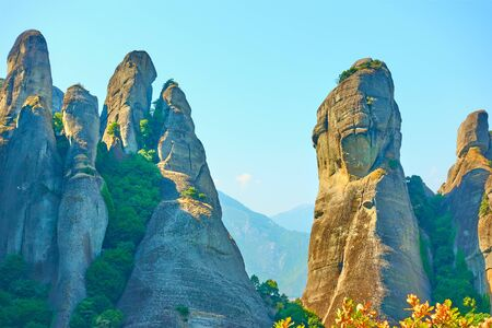 Landscape with rocks of Meteora, Thessaly, Greece -  Picturesque greek scenery