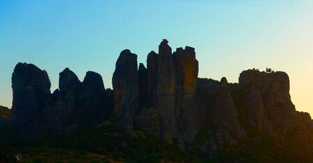 Silhouette of Meteora rocks at dawn, Kalambaka, Greece -  Greek landscape