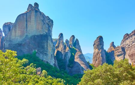 Landscape with rocks of Meteora, Greece -  Picturesque greek scenery with tall cliffs Reklamní fotografie