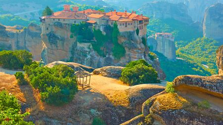 on the top of the cliff in Meteora in the morning, Greece -  Greek landscape