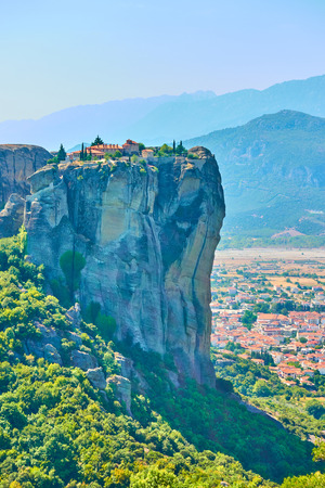 The Holy Trinity orthodox monastery on the cliff in Meteora, Greece - Greek landscape