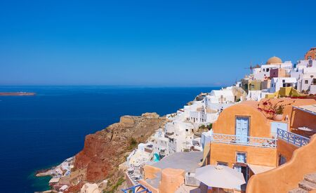 The sea and Oia town in Santorini island on sunny summer day, Greece -- Greek landscape