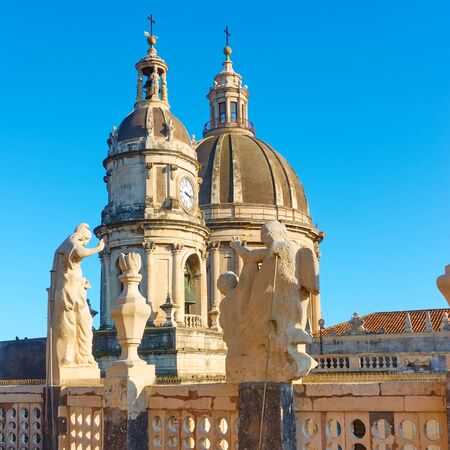 Domes and towers of Saint Agatha Cathedral in Catania, Sicily, Italy
