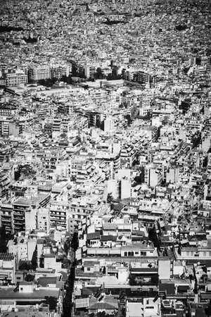 Aerial view of residential area of Athens City in Greece. Black and white uban photography