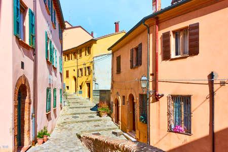 Old street in Santarcangelo di Romagna town, Rinini Province, Italy. Italian cityscape