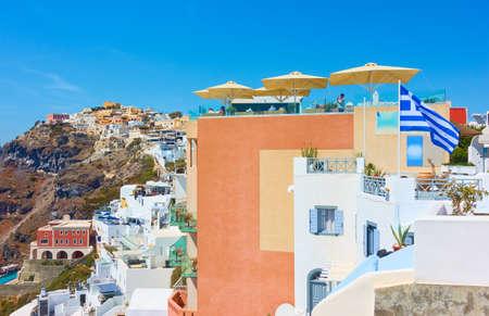 Terraces of Fira town in Santorini, Greece. Greek scenery