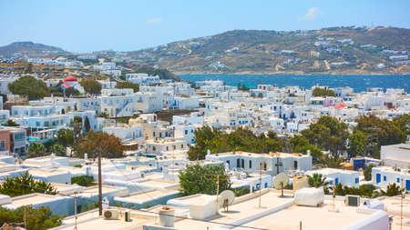 Panoramic view of Mykonos (Chora) town in Mykonos island, Greece