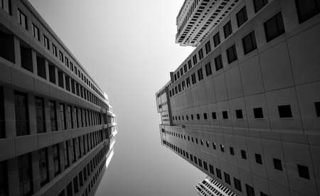 Multistory apartment buildings. Black and white  architectural photography