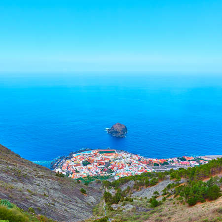 Garachico town inTenerife by the ocean, The Canaries, Spain. Landscape Stock Photo