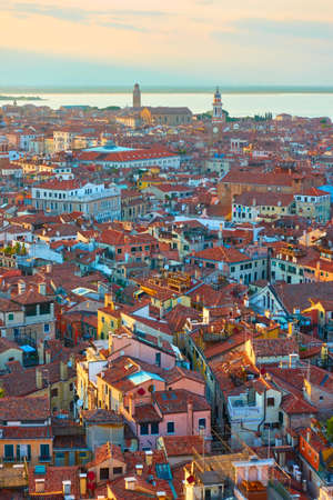 Panoramic view of the old town with tiled roofs from above, cityscape