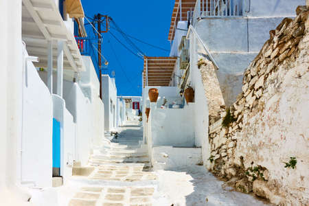 Uphill street in Chora town in Mykonos island. Greece,  Greek architecture, cityscape