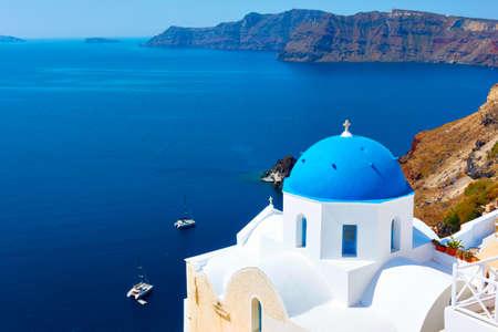 Greece, Santorini Island. Landscape with white greek church on the coast by the sea