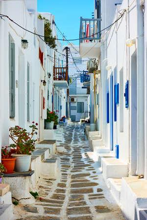 Typical street in Chora town in Mykonos island. Greece,  Greek architecture, cityscape