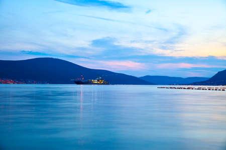 The Bay of Kotor in Montenegro at dusk. Water landscape Standard-Bild