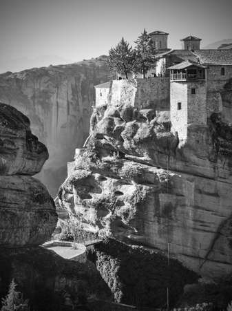 The Monastery of Varlaam in Meteora in Greece. Black and white photography, greek landscape