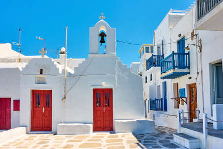 Street with old church in Chora town in Mykonos island. Greece,  Greek architecture, cityscape