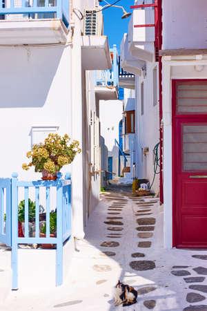 Small cosy street in Chora town in Mykonos island. Greece,  Greek architecture, cityscape Standard-Bild