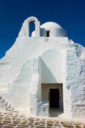 Mykonos Island, Greece. Ancient Panagia Paraportiani church in Chora town. Greek architecture