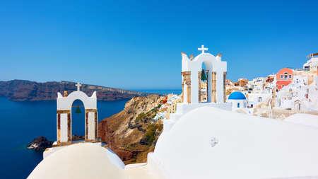 Greece, Santorini Island. Scenic view of Oia city by the sea. Greek landscape