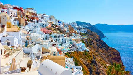 Greece, Santorini Island.  Panoranic view of Oia city on the coast by the sea. Greek landscape