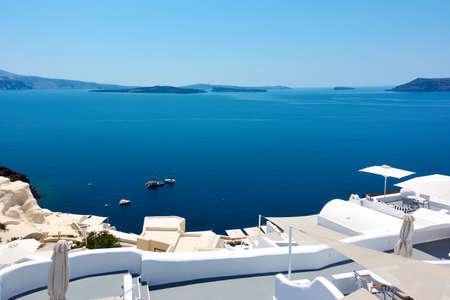 Sea in Greece. Santorini island Standard-Bild