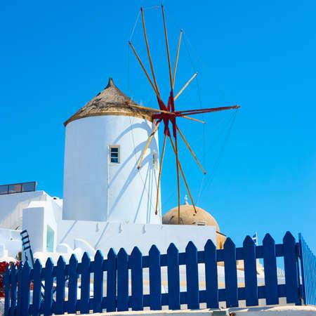 Windmill in Santorini island in Greece.