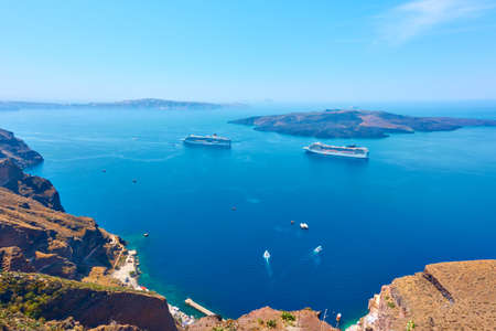 Sea from Santotini Island, Greece. Panoramic landscape