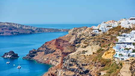 Aegean sea and coast of Santorini island, Oia, Greece Standard-Bild
