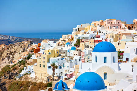 Greece, Santorini Island.  Scenic view of Oia town. Greek landscape Standard-Bild