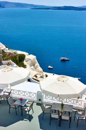 Sea in Greece. Small cafe in Santorini island