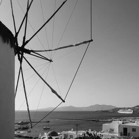 Mykonos island in Greece.. Greek landscape with windmill..  Black and white photography