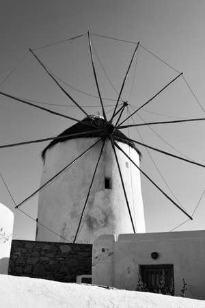 Windmill in Mykonos in Greece.. Black and white photography