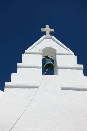 Bell tower in Mykonos island in Greece. Architectural detail