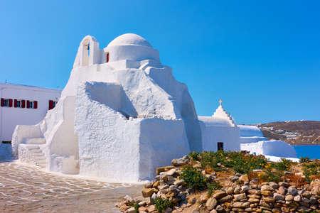 Mykonos Island in Greece. Greek Panagia Paraportiani church in Chora town. Standard-Bild